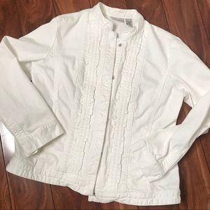 White denim Chico's jacket